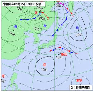 9月15日(日)9時の予想天気図