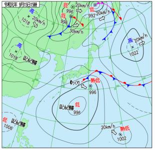 9月15日(日)15時の実況天気図