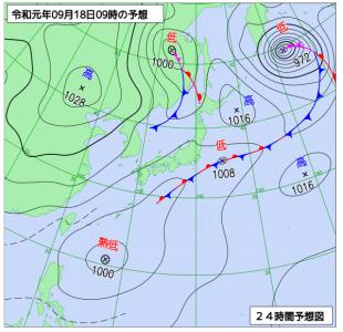 9月18日(水)9時の予想天気図