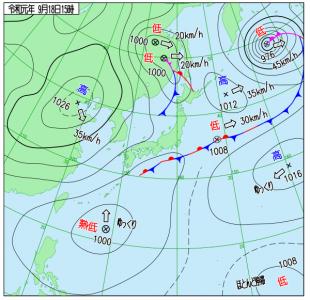 9月18日(水)15時の実況天気図