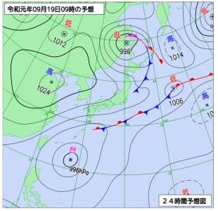 9月19日(木)9時の予想天気図