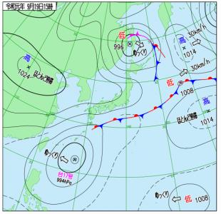 9月19日(木)15時の実況天気図