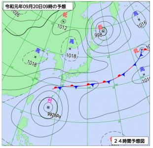 9月20日(金)9時の予想天気図
