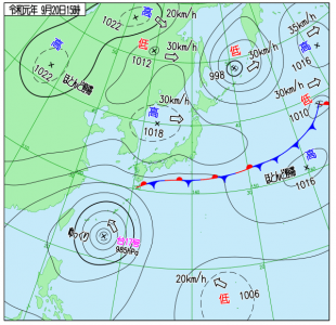 9月20日(金(15時の実況天気図