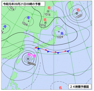 9月21日(土)9時の予想天気図