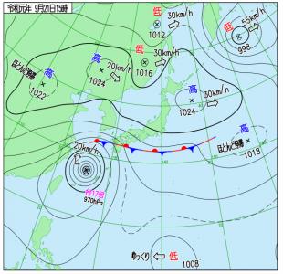 9月21日(土)15時の実況天気図