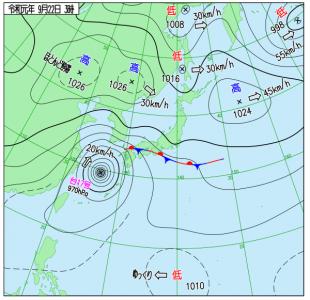 9月22日(日)3時の実況天気図