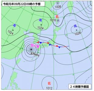 9月22日(日)9時の予想天気図