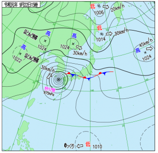 9月22日(日)15時の実況天気図
