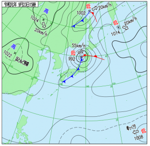 9月23日(月祝)15時の実況天気図