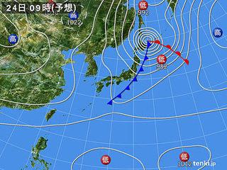 9月24日(火)9時の予想天気図