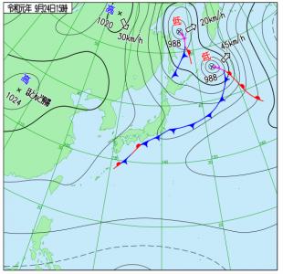 9月24日(火)15時の実況天気図