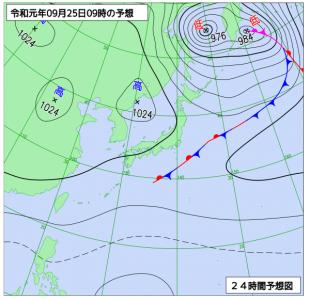 9月25日(水)9時の予想天気図