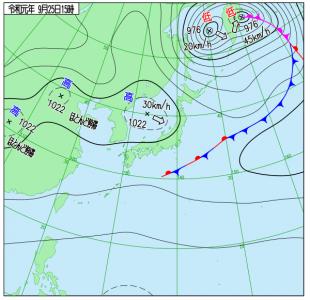 9月25日(水)15時の実況天気図