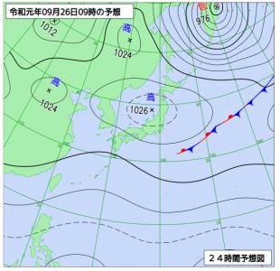 9月26日(木)9時の予想天気図