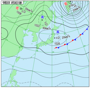 9月26日(木)15時の実況天気図