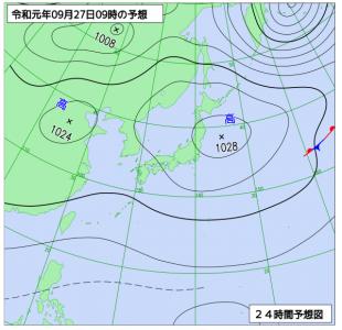 9月27日(金)9時の予想天気図