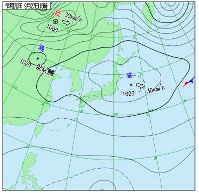 9月27日(金)15時の実況天気図