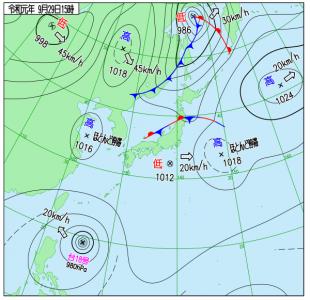 9月29日(日)15時の実況天気図