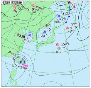 9月30日(月)15時の実況天気図