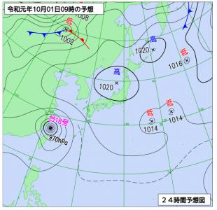 10月1日(火)9時の予想天気図