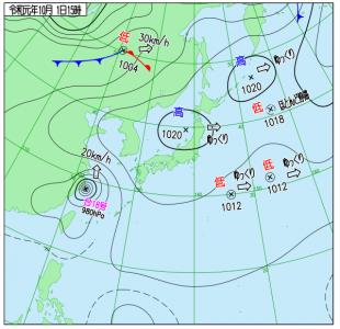 10月1日(火)15時の実況天気図