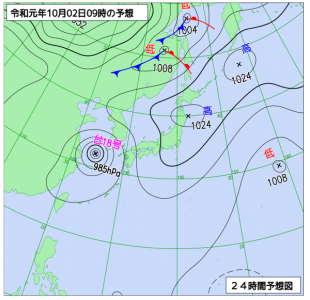 10月2日(水)9時の予想天気図