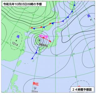 10月3日(木)9時の予想天気図