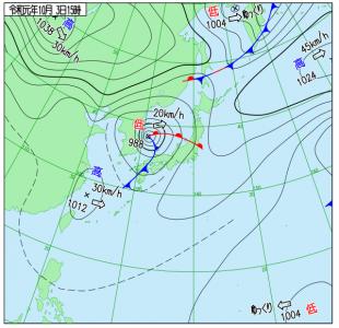 10月3日(木)15時の実況天気図