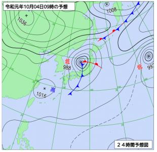 10月4日(金)9時の予想天気図