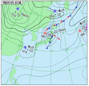 10月4日(金)15時の実況天気図