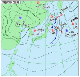 10月5日(土)15時の実況天気図