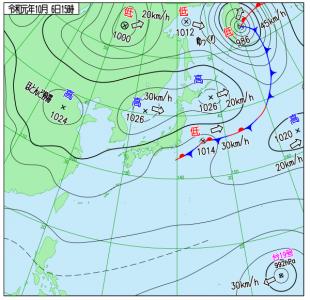 10月6日(日)15時の実況天気図