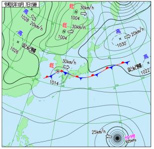 10月7日(月)15時の実況天気図