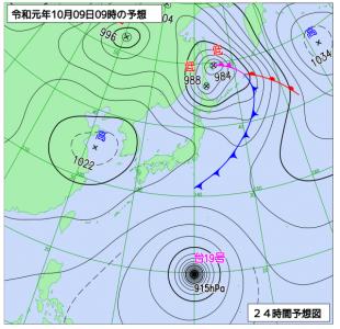10月9日(水)9時の予想天気図