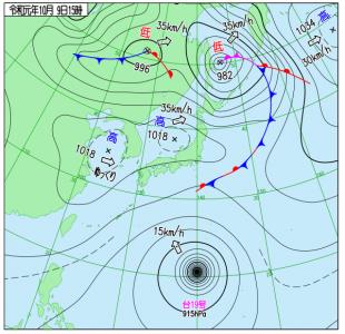 10月9日(水)15時の実況天気図
