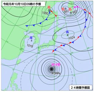10月10日(木)9時の予想天気図