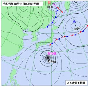 10月11日(金)9時の予想天気図