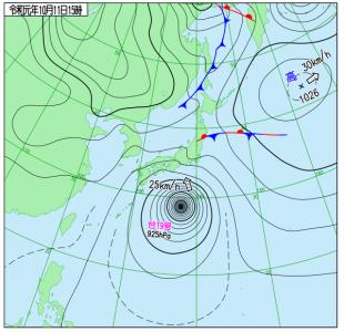 10月11日(金)15時の実況天気図