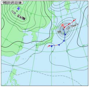 10月13日(日)15時の実況天気図