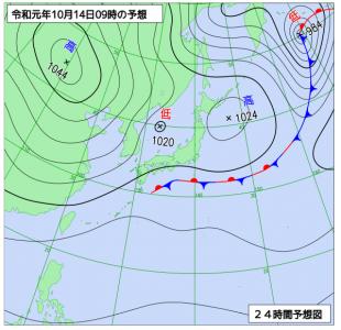 10月14日(月祝)9時の予想天気図