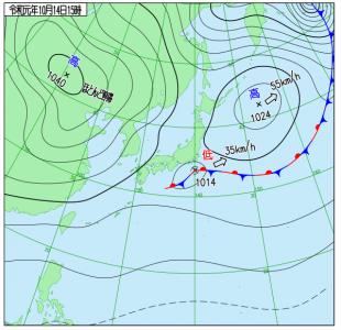 10月14日(月祝)15時の実況天気図