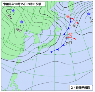 10月15日(火)9時の予想天気図