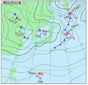 10月15日(火)15時の実況天気図