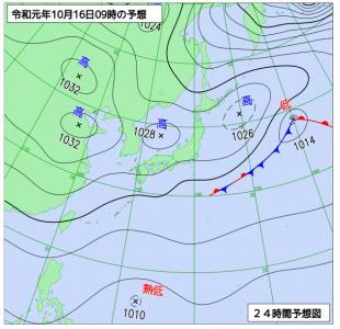 10月16日(水)9時の予想天気図