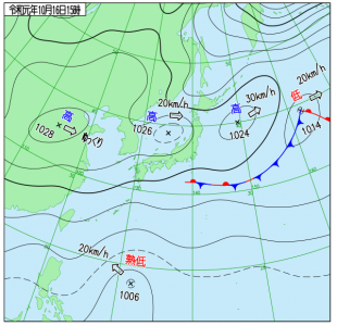 10月16日(水)15時の実況天気図