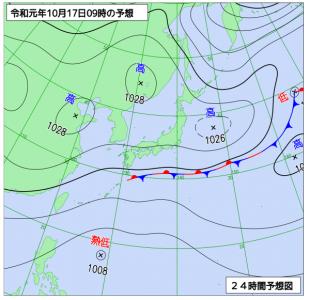 10月17日(木)9時の予想天気図