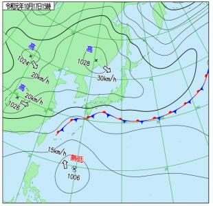 10月17日(木)15時の実況天気図