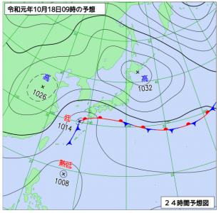10月18日(金)9時の予想天気図