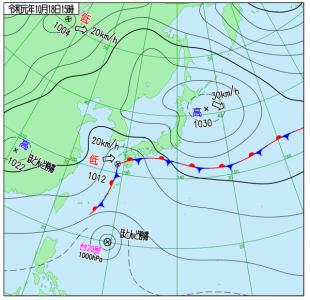 10月18日(金)15時の実況天気図